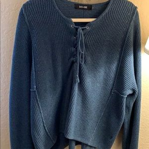 Blue lace up sweater